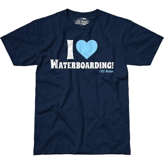 7.62 Design I Love Waterboarding T-Shirt Navy