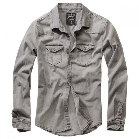 Brandit Riley Denim Shirt Grey Denim