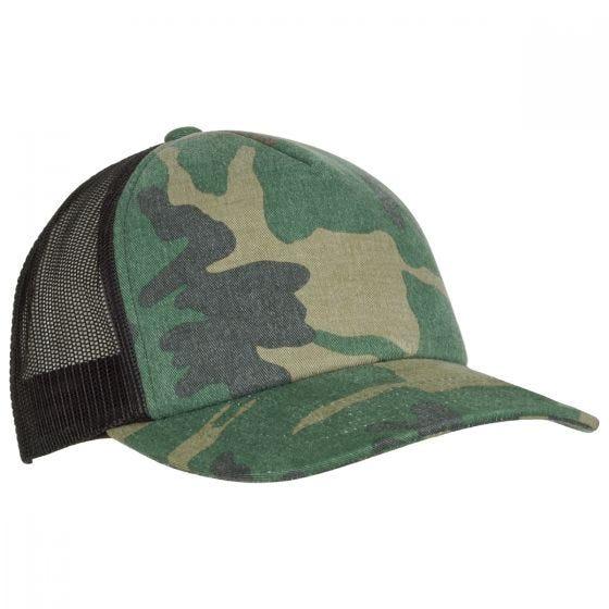 YP Camo Trucker Cap Woodland/Black