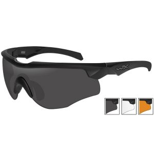 Wiley X WX Rogue Comm Glasses - Smoke Grey + Clear + Light Rust Lens / Matte Black Frame