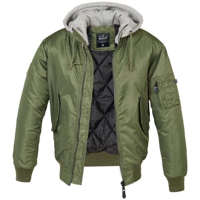 Brandit MA1 Sweat Hooded Jacket Olive/Grey