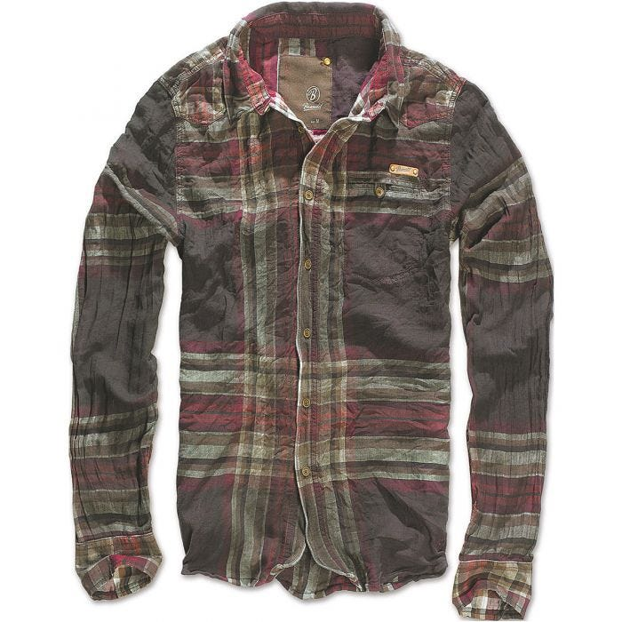 Brandit Raven Wire Check Shirt Choco / Red