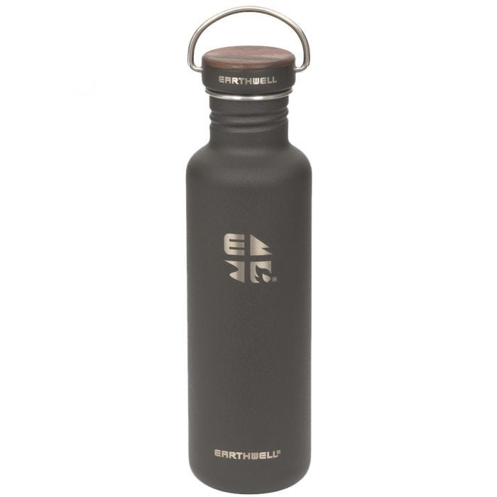 Earthwell Woodie Single Wall Bottle 800ml Walnut / Volcanic Black