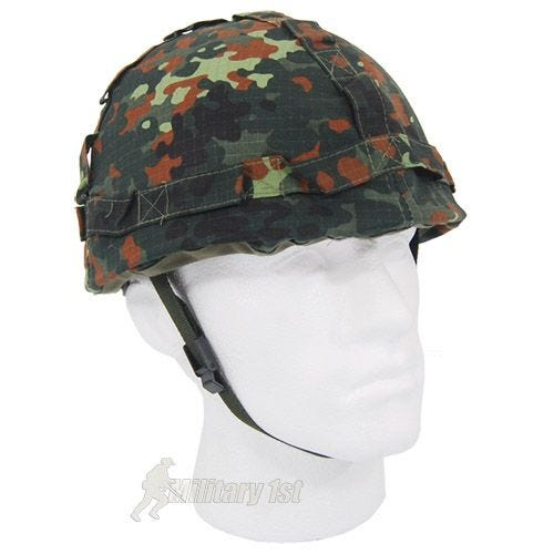Plastic Helmet with Flecktarn Camo Cloth Cover