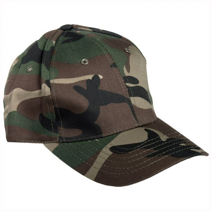 Mil-Tec Baseball Cap with Plastic Band Woodland