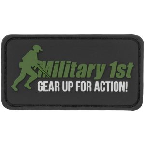 Military 1st Gear Up For Action Patch Black/White/Green