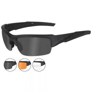 Wiley X WX Valor Glasses - Smoke Grey + Clear + Light Rust Lens / Matte Black