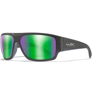 Wiley X WX Vallus Glasses - Polarized Emerald Mirror Lens / Matte Black Frame