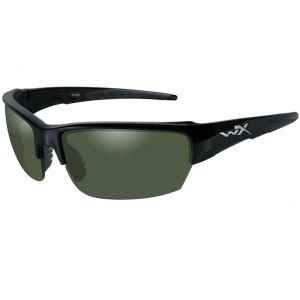 Wiley X WX Saint Glasses - Polarized Smoke Green Lens / Gloss Black Frame