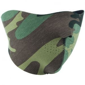 Mil-Tec Reversible Neoprene Half Face Mask Black / Woodland